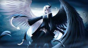 Rating: Safe Score: 41 Tags: bicolored_eyes feathers gothic horns kmj8645885 long_hair original white_hair wings zettai_ryouiki User: kyxor