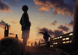 Rating: Safe Score: 49 Tags: all_male ball building clouds group male original papi_(papiron100) realistic short_hair shorts signed sky soccer socks sport sunset User: RyuZU
