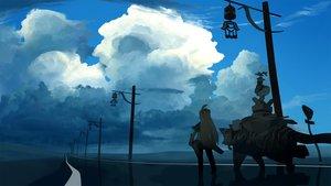 Rating: Safe Score: 40 Tags: akitsu_taira animal clouds landscape original scenic school_uniform sky tiger User: FormX