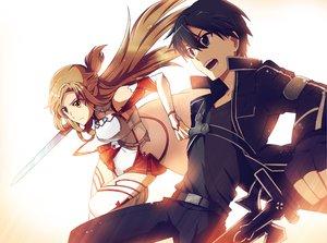 Rating: Safe Score: 107 Tags: kirigaya_kazuto sword sword_art_online tagme_(artist) weapon yuuki_asuna User: Holzfeller