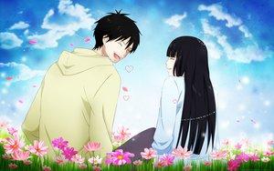 Rating: Safe Score: 51 Tags: black clouds flowers kazehaya_shouta kimi_ni_todoke kuronuma_sawako petals sky User: Maboroshi