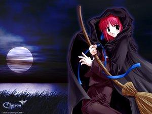 Rating: Safe Score: 9 Tags: blush cape grass kohaku maid moon pink_hair ribbons shingetsutan_tsukihime water witch User: Oyashiro-sama