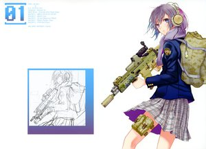 Rating: Safe Score: 135 Tags: fuyuno_haruaki gun headphones original scarf sketch skirt weapon User: Wiresetc
