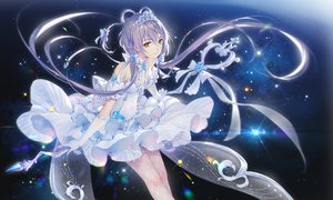Rating: Safe Score: 148 Tags: blue_hair bow choker dress elbow_gloves gloves green_eyes long_hair luo_tianyi staff stars tiara tidsean twintails vocaloid vocaloid_china User: BattlequeenYume