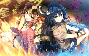 Rating: Safe Score: 110 Tags: 2girls blue_eyes blue_hair blush bow brown_eyes brown_hair hat hoodie long_hair magic shinoba skirt sunglasses touhou twintails wristwear yorigami_joon yorigami_shion User: luckyluna