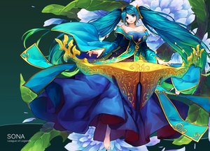 Rating: Safe Score: 81 Tags: aqua_eyes aqua_hair curry_bowl instrument league_of_legends long_hair sona_buvelle twintails User: FormX