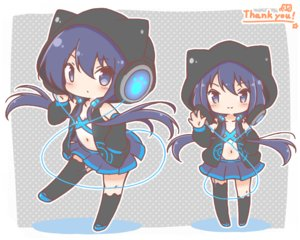 Rating: Safe Score: 30 Tags: animal_ears anthropomorphism blue_eyes blue_hair chibi headphones hoodie long_hair mitarashi_neko navel original skirt thighhighs twintails User: otaku_emmy