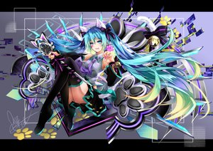 Rating: Safe Score: 33 Tags: animal_ears aqua_eyes aqua_hair bell bow catgirl hatsune_miku long_hair microphone ribbons signed skirt tail tattoo thighhighs tie twintails tyouya vocaloid User: RyuZU