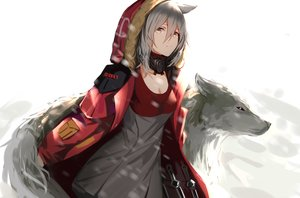 Rating: Safe Score: 156 Tags: animal animal_ears arknights breasts cleavage dress gray_hair higandgk hoodie knife projekt_red_(arknights) short_hair weapon white wolf wolfgirl yellow_eyes User: ssagwp