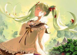 Rating: Safe Score: 100 Tags: canegouzi dress food fruit green_eyes green_hair hatsune_miku long_hair strawberry twintails vocaloid User: Flandre93