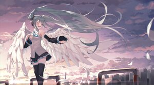 Rating: Safe Score: 60 Tags: aqua_hair blush building city clouds dustea feathers hatsune_miku headphones long_hair microphone skirt sky twintails vocaloid wings zettai_ryouiki User: Maboroshi