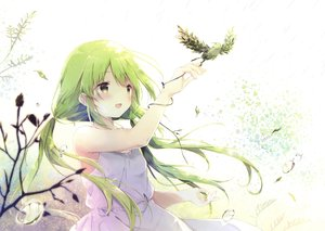 Rating: Safe Score: 71 Tags: animal bird blush dress green_eyes long_hair scan shiratama summer_dress twintails User: RyuZU