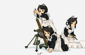 Rating: Safe Score: 53 Tags: akai_sashimi animal animal_ears apron black_eyes black_hair blush bow braids catgirl cropped fish gray gun loli maid original pantyhose short_hair tail weapon User: otaku_emmy
