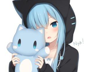 Rating: Safe Score: 109 Tags: amashiro_natsuki animal_ears aqua_eyes aqua_hair catgirl close cropped doll hoodie long_hair nekoha_shizuku original white User: otaku_emmy