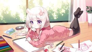Rating: Safe Score: 87 Tags: animal_ears blush hoodie loli long_hair mechuragi original paper purple_eyes thighhighs twintails white_hair zettai_ryouiki User: BattlequeenYume