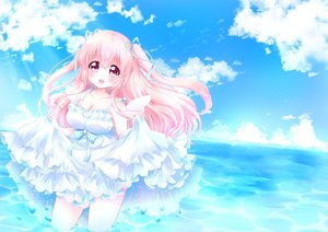 Rating: Safe Score: 26 Tags: breasts cleavage dress original pink_eyes pink_hair summer summer_dress tagme_(artist) twintails water wings User: luckyluna