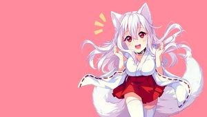 Rating: Safe Score: 73 Tags: animal_ears collar fang foxgirl hyanna-natsu japanese_clothes kisumi miko original pink red_eyes skirt tail thighhighs white_hair yukata zettai_ryouiki User: kisumi