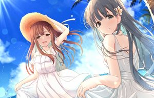 Rating: Safe Score: 52 Tags: 2girls akisaka_yamoka aliasing clouds dress hat idolmaster idolmaster_cinderella_girls kobayakawa_sae long_hair mizumoto_yukari sky summer_dress water User: BattlequeenYume