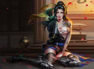 Rating: Safe Score: 485 Tags: armor black_hair blood boots brown_eyes genderswap hanzo_(overwatch) liang_xing long_hair overwatch panties petals ponytail realistic sarashi tattoo thighhighs torn_clothes underwear weapon User: RyuZU