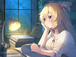 Rating: Safe Score: 33 Tags: akai_haato blonde_hair blue_eyes book hololive long_hair magowasabi night sky stars User: BattlequeenYume
