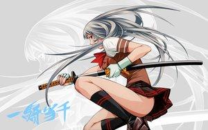Rating: Safe Score: 110 Tags: chouun_shiryuu gloves gray_hair ikkitousen katana long_hair school_uniform sword weapon User: Tensa