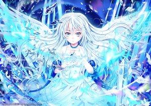 Rating: Safe Score: 82 Tags: angel blue_eyes dress k_(artist) long_hair original white_hair wings User: Shupa