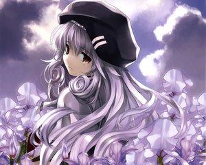 Rating: Safe Score: 91 Tags: boku_to_kanojo_ni_furuyoru flowers gray_hair hat misaki_kurehito red_eyes tears User: Wiresetc
