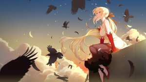 Rating: Safe Score: 102 Tags: animal bakemonogatari bird blonde_hair breasts clouds dress elbow_gloves gloves kissshot_acerolaorion_heartunderblade kizumonogatari long_hair monogatari_(series) oshino_shinobu ribbons sky vampire wukloo yellow_eyes User: RyuZU