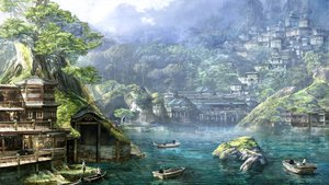 Rating: Safe Score: 177 Tags: anesaki_dynamic boat building city clouds forest landscape original scenic sky tagme tree water User: opai