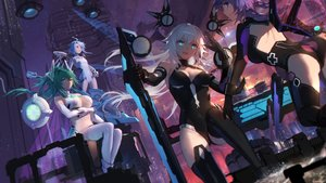 Rating: Safe Score: 74 Tags: aqua_eyes aqua_hair black_heart blanc bodysuit breast_hold breasts building city cleavage elbow_gloves gloves green_hair green_heart group hyperdimension_neptunia long_hair navel neptune noire ponytail purple_eyes purple_hair purple_heart short_hair swd3e2 sword thighhighs vert weapon white_hair white_heart User: RyuZU