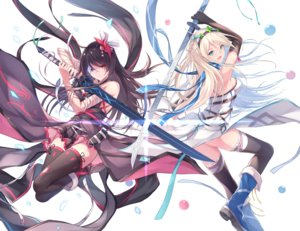 Rating: Safe Score: 57 Tags: 2girls bandage bicolored_eyes black_hair blonde_hair boots breasts elbow_gloves fuuro_(johnsonwade) gloves green_eyes headband long_hair original sideboob sword thighhighs weapon white User: RyuZU