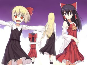 Rating: Safe Score: 63 Tags: black_hair blonde_hair blush bow braids feng_ze hakurei_reimu japanese_clothes long_hair miko purple_eyes red_eyes ribbons rumia shirt short_hair touhou User: ガラス