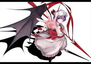Rating: Safe Score: 51 Tags: dress hat pink_eyes purple_hair remilia_scarlet short_hair spear touhou vampire waterdog weapon white wings User: Flandre93