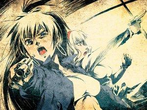 Rating: Safe Score: 24 Tags: ganaha_hibiki gun idolmaster shijou_takane shimoigusa weapon User: Kunimura