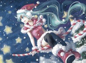 Rating: Safe Score: 74 Tags: aqua_eyes aqua_hair candy christmas hat hatsune_miku long_hair neeta night snow stars thighhighs tree vocaloid User: FormX