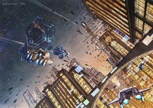Rating: Safe Score: 21 Tags: airship building city k_kanehira nobody original scenic sky stars sunset watermark User: RyuZU