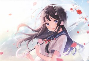 Rating: Safe Score: 70 Tags: black_hair blue_eyes flowers long_hair original petals rain scan school_uniform shigure_ui umbrella water User: Nepcoheart