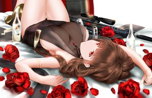 Rating: Questionable Score: 80 Tags: anthropomorphism brown_hair dress drink dsr-50 flowers girls_frontline gun higandgk long_hair necklace no_bra red_eyes rose see_through weapon User: BattlequeenYume