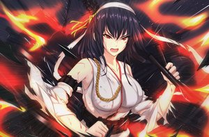 Rating: Safe Score: 19 Tags: anthropomorphism antiqq black_hair blood breasts fire headband japanese_clothes kantai_collection long_hair miko red_eyes torn_clothes yamashiro_(kancolle) User: BattlequeenYume