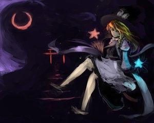 Rating: Safe Score: 25 Tags: aki_konnpu blonde_hair dark hat kirisame_marisa moon night stairs stars torii touhou witch yellow_eyes User: SonicBlue