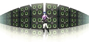 Rating: Safe Score: 54 Tags: blue_eyes blue_hair boots guitar headphones instrument original sakais3211 shirt short_hair skirt User: FormX