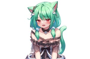 Rating: Safe Score: 58 Tags: animal_ears blush bow catgirl cat_smile choker close deaver dress fang flat_chest green_hair hololive red_eyes ribbons see_through short_hair tail third-party_edit twintails uruha_rushia white User: otaku_emmy