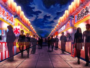 Rating: Safe Score: 22 Tags: clouds festival group japanese_clothes night original shrine sky stars summer tree v-mag User: otaku_emmy