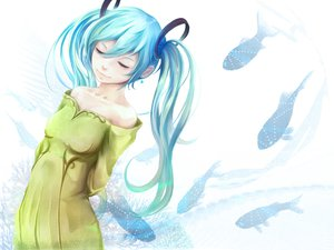 Rating: Safe Score: 52 Tags: animal aqua_hair dress fish hatsune_miku long_hair museum2088 twintails vocaloid User: FormX