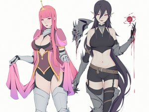 Rating: Safe Score: 40 Tags: 2girls adventure_time armor black_hair blood breasts cape cleavage cropped crown elbow_gloves fang garter_belt gloves leotard liya_nikorov long_hair magic marceline navel pink_eyes pink_hair pointed_ears princess_bubblegum red_eyes shorts thighhighs vampire zettai_ryouiki User: otaku_emmy