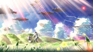 Rating: Safe Score: 58 Tags: clouds eden flowers grass landscape long_hair scenic sky skyt2 white_hair User: Maboroshi