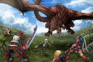 Rating: Safe Score: 53 Tags: armor daimyo_hermitaur dragon kirin_(armor) monster_hunter naruga_kuruga rathalos_(armor) shibairo sword tail weapon wings User: lost91colors