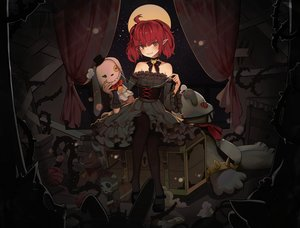 Rating: Safe Score: 57 Tags: blush bow choker corset dark doll dungeon_and_fighter female_mage_(dnf) goth-loli hyorang lolita_fashion moon night pantyhose pointed_ears red_eyes red_hair short_hair twintails User: otaku_emmy
