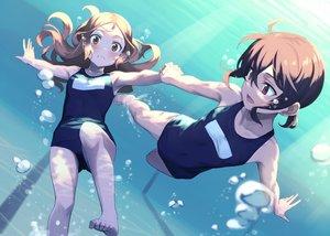 Rating: Safe Score: 94 Tags: 2girls barefoot blush brown_eyes brown_hair bubbles kinta_(distortion) long_hair original pool red_eyes short_hair swimsuit underwater water User: RyuZU