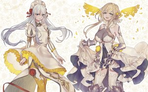 Rating: Safe Score: 50 Tags: 2girls aqua_eyes armor blonde_hair breasts cosplay dress elbow_gloves flowers gloves gray_hair headdress long_hair ojo_aa petals rapunzel_(sinoalice) ribbons rose signed sinoalice snow_white_(sinoalice) thighhighs twintails zettai_ryouiki User: RyuZU
